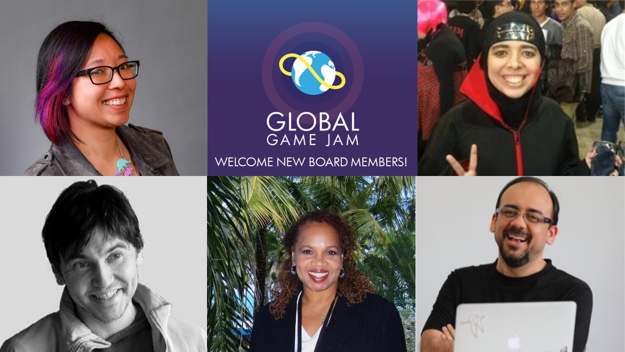 Pictures of five new global game jam board members surrounding the GGJ logo