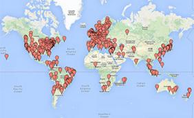 Global Game Jam 2014 sites in Google Maps