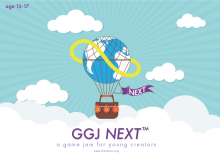Picture of GGJ Next logo of a hot air balloon with text promoting GGJ Next 2021