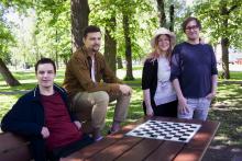 Vainary team from Finland, participated Global Game Jam 2020. From left to right: Sampsa Kaskela, Joonas Törmänen, Sade Sirén, Matti Mänty. Photo by Elina Värri/Sade Sirén