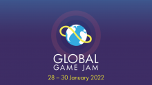 Global Game Jam logo with dates of event 28 - 30 January 2022