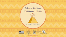 Cultural Heritage Game Jam taking place November 5 -21. Image of a pyramid with a game controller on top.